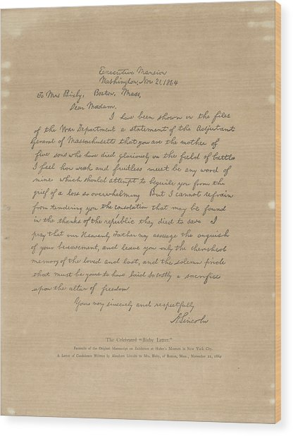The Bixby Letter Wood Print