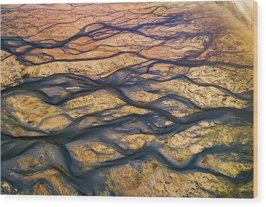 The Black Rivers Wood Print by Faisal Alnomas