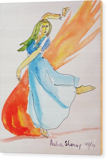 The Blazing Dancer Wood Print