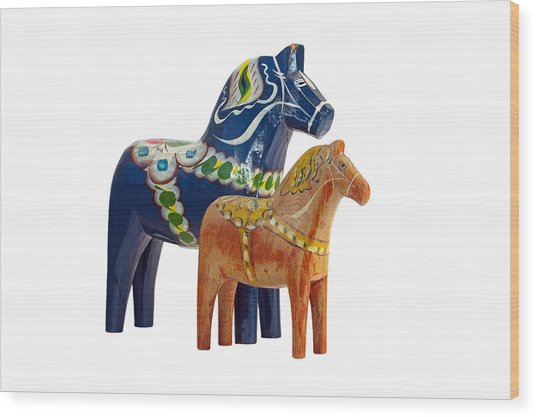 The Blue And Red Dala Horse Wood Print
