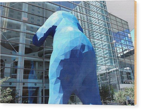 The Blue Bear Wood Print