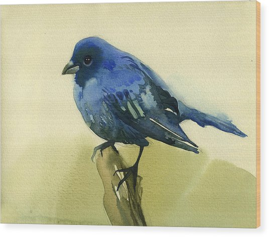 The Blue Birdie Wood Print by Tatiana Zubareva