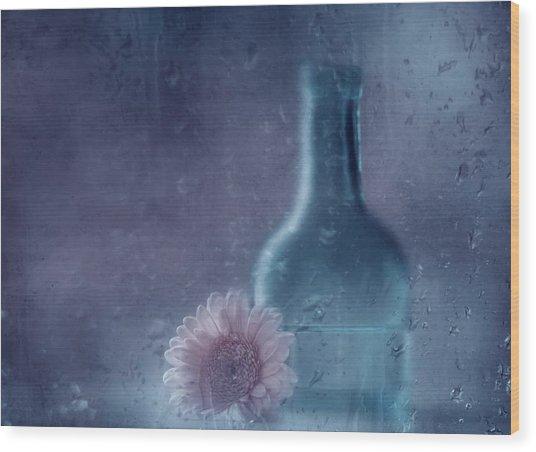 The Blue Bottle Wood Print by Delphine Devos