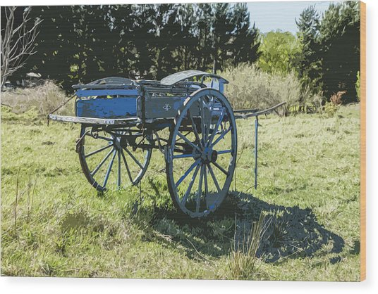 The Blue Cart Wood Print by Gary Cowling