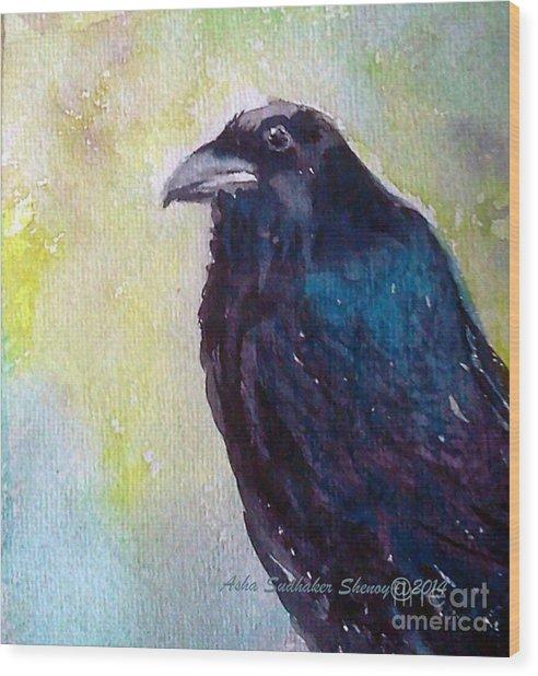 The Blue Raven Wood Print
