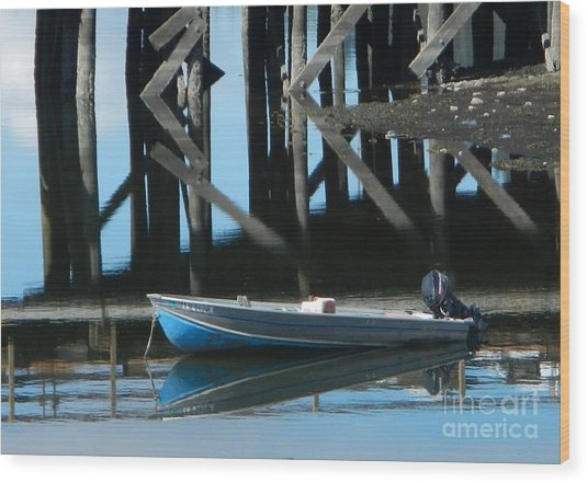 Wood Print featuring the photograph The Blue Skiff by Laura  Wong-Rose