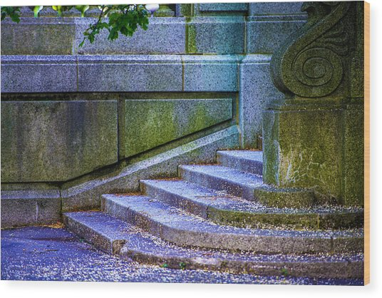 The Blue Stairs Wood Print