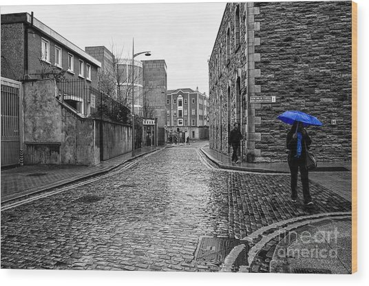 The Blue Umbrella - Sc Wood Print