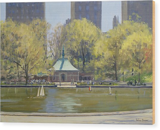 The Boating Lake, Central Park, New York, 1997 Oil On Canvas Wood Print