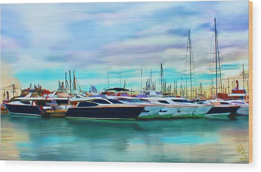 Wood Print featuring the painting The Boats Of Malaga Spain by Deborah Boyd