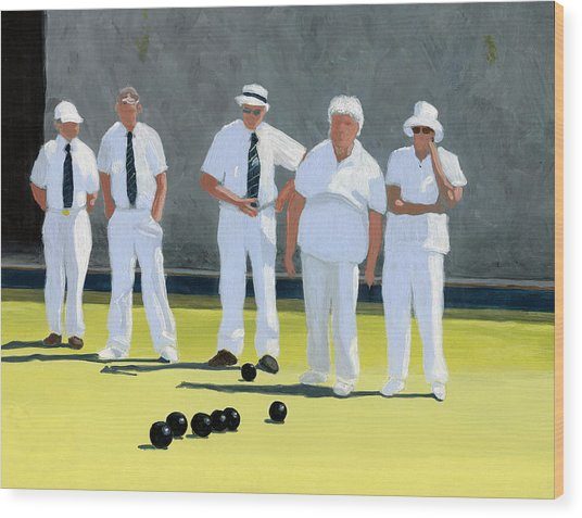 The Bowling Party Wood Print