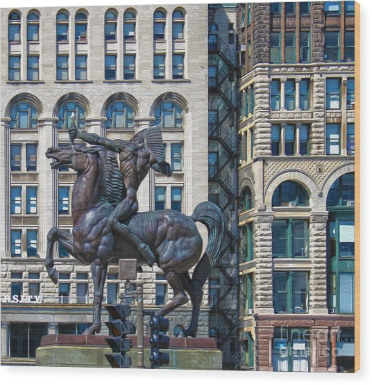 The Bowman - Chicago Indian Statue - 02 Wood Print by Gregory Dyer