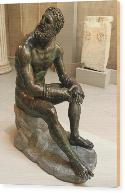 The Boxer - Seated Pose Wood Print