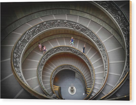 The Bramante Staircase In Vatican Wood Print by Dragos Cosmin Photos