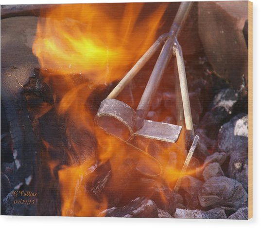 The Branding Fire Wood Print