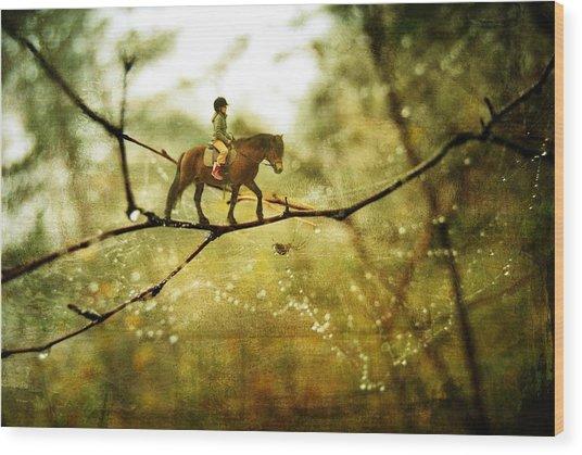 The Brave Rider Wood Print