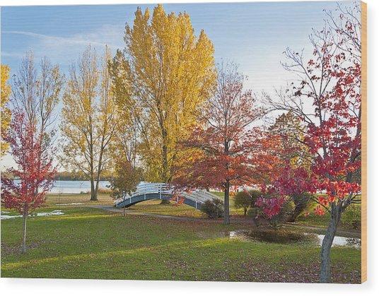 The Bridge In Autumn Wood Print