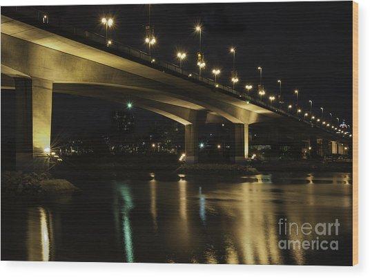 The Bridge Over False Creek Wood Print
