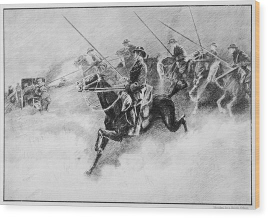 The British Cavalry In Action As Late Wood Print by Mary Evans Picture Library