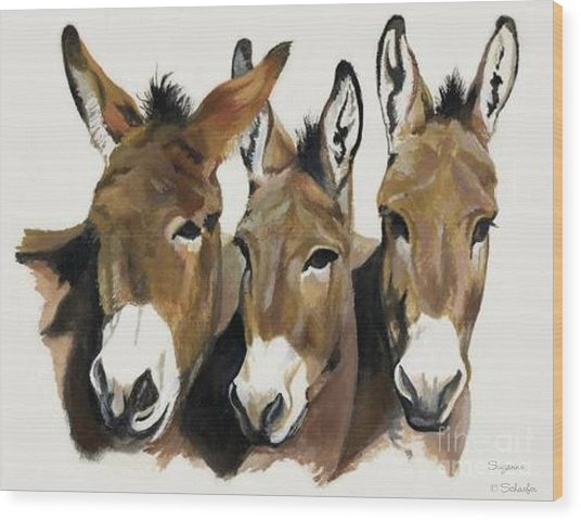 The Brothers Three Wood Print by Suzanne Schaefer
