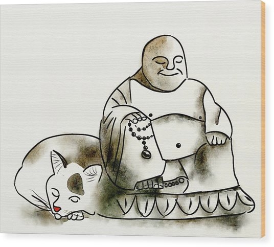 The Buddha And The Cat Wood Print