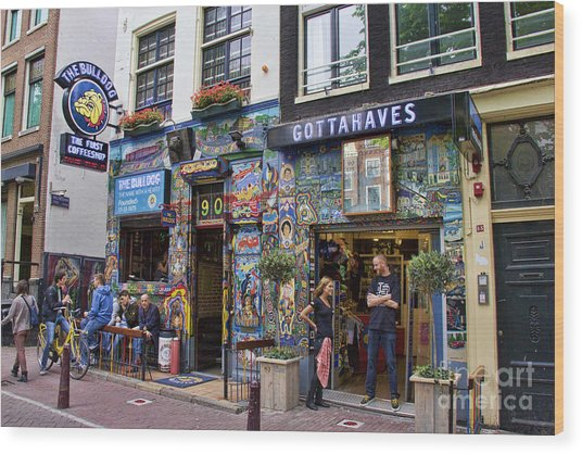 The Bulldog Coffee Shop - Amsterdam Wood Print
