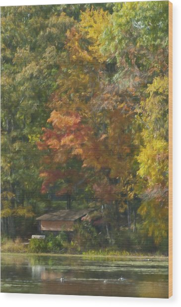 The Cabin At Cherry Brook Wood Print