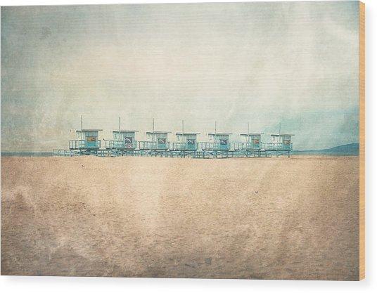 Venice Cabins Wood Print
