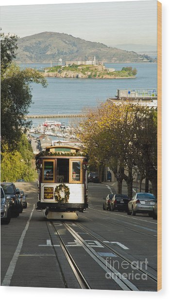 The Cable Car And Alcatraz Wood Print