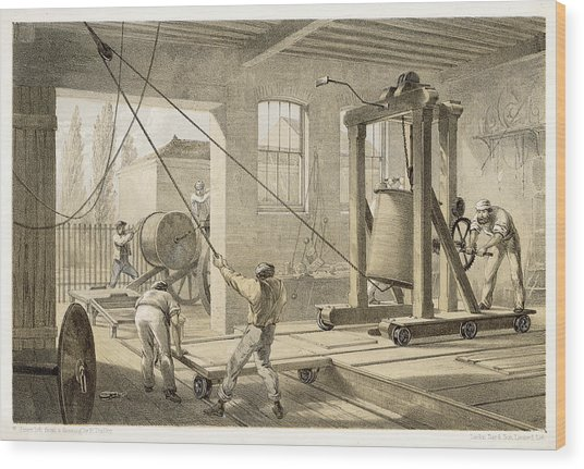 The Cable Is Brought To  Greenwich Wood Print by Mary Evans Picture Library