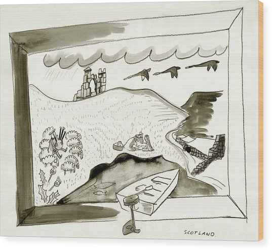 The Caledonian Canal In Scotland Wood Print by Ludwig Bemelmans