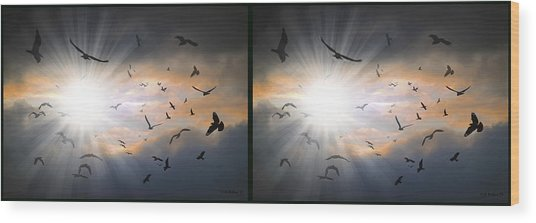 The Call - The Caw - Gently Cross Your Eyes And Focus On The Middle Image Wood Print