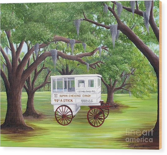 The Candy Cart Wood Print