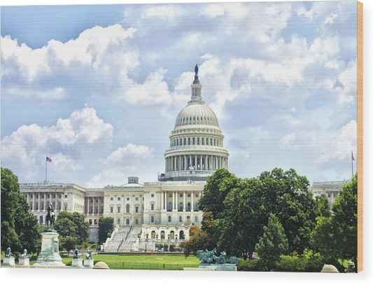 The Capitol Building Wood Print by Sandra Welpman