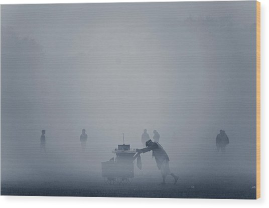 The Cart In The Fog Wood Print by Www.sayantanphotography.com