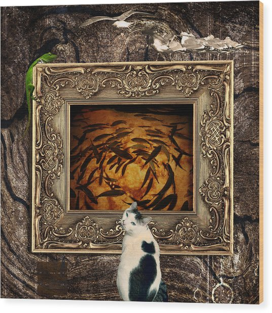 The Cat Wood Print by Elena Mussi