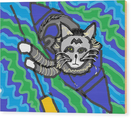 The Cat Rescuer Wood Print