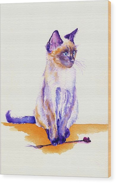 The Catmint Mouse Hunter Wood Print