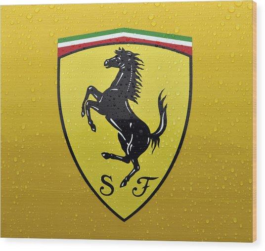 The Cavallino Rampante Symbol Of Ferrari Wood Print