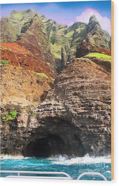 The Caves Of Kauai Wood Print