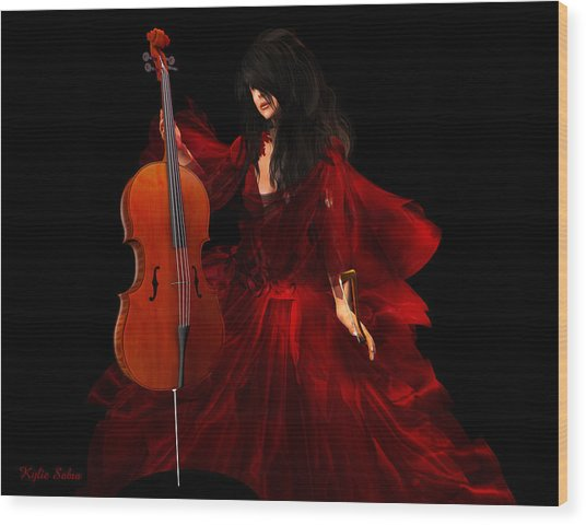 The Cellist Wood Print
