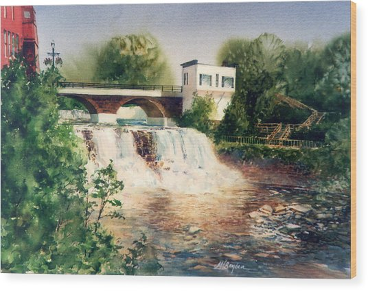 The Chagrin Falls In Summer Wood Print