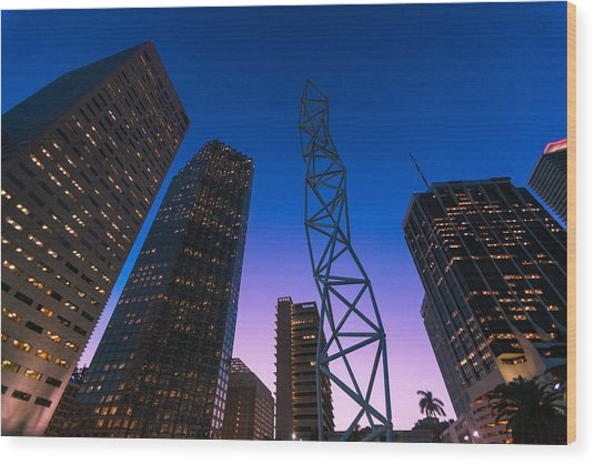 The Challenger Monument - Downtown Miami Wood Print by Dan Vidal