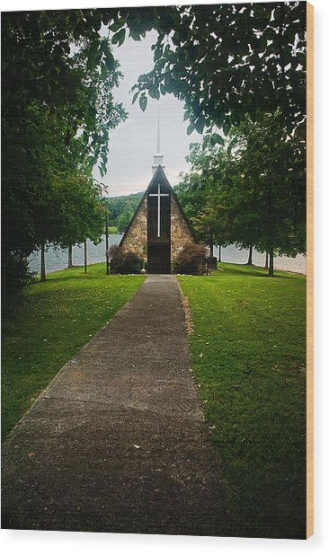 The Chapel On The Lake Wood Print