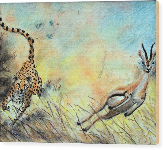 The Chase Is On Wood Print by Nathan Cole
