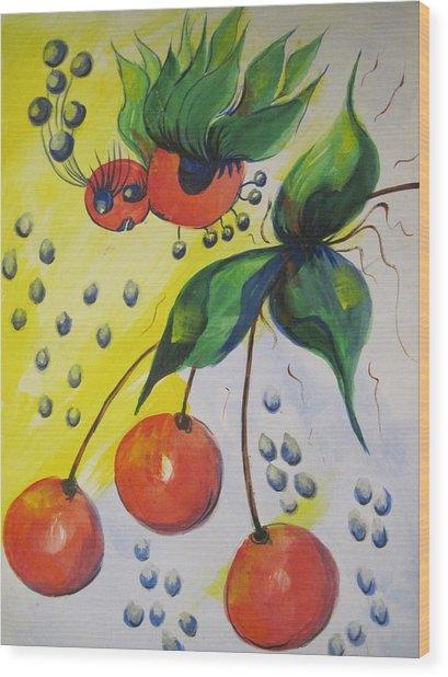 The Cherry Fairy Wood Print by Shirley Watts