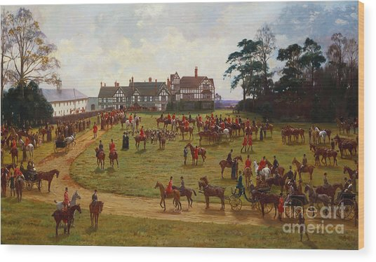 The Cheshire Hunt    The Meet At Calveley Hall  Wood Print