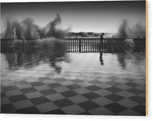 The Chessplayer Wood Print by Paolo Lazzarotti