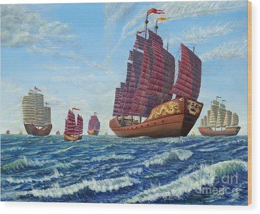The Chinese Treasure Fleet Sets Sail Wood Print