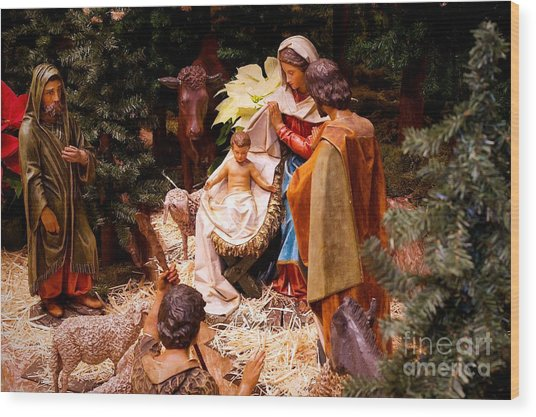 The Christmas Creche At Holy Name Cathedral - Chicago Wood Print